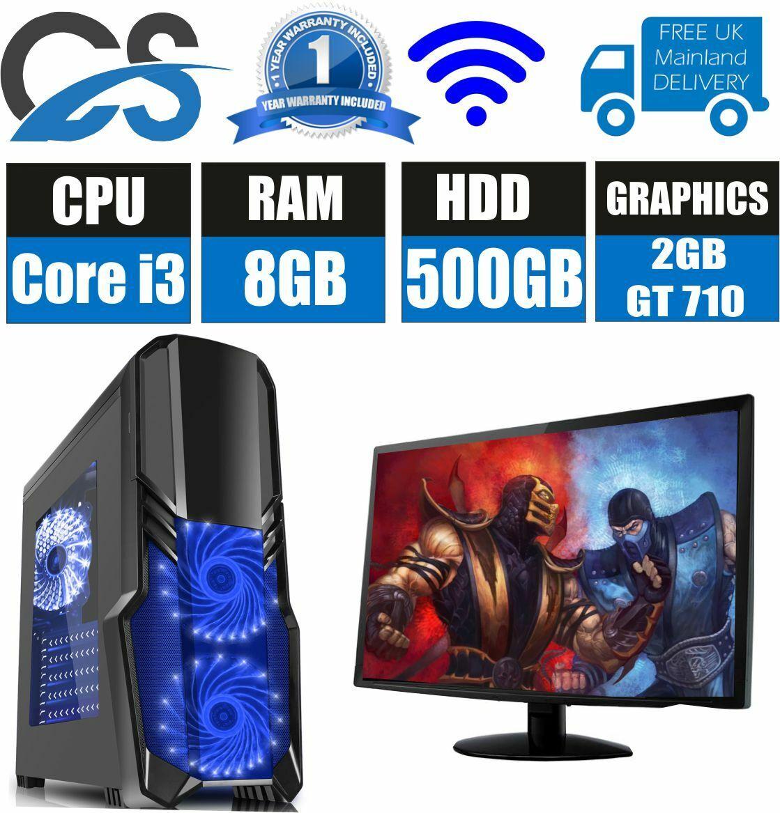 Computer Games - SUPER FAST GAMING COMPUTER PC INTEL CORE i3 8GB RAM 500GB HDD 2GB GT 710 WIFI