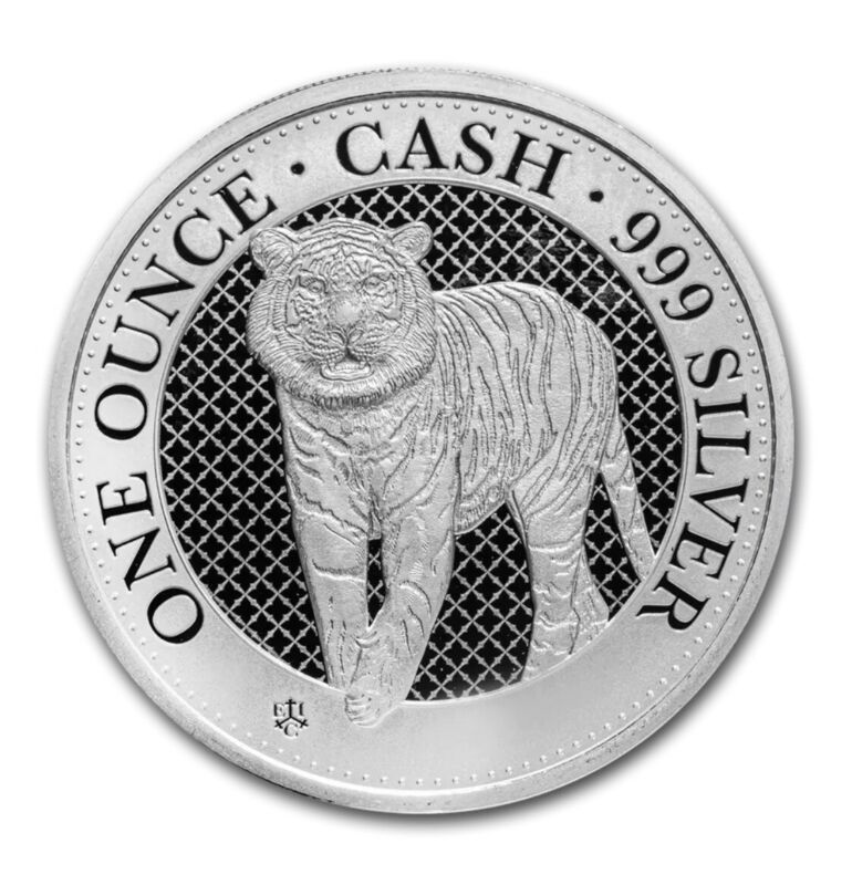 2019 St. Helena 1 oz Silver £1 Cash: The Tiger 1st In Series, Low 3,000 Mintage