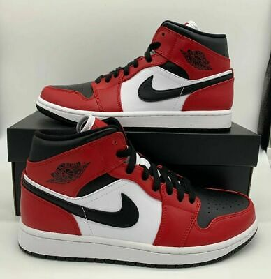 Nike Air Jordan 1 Retro Mid Chicago Bred Mens GS Sz Black Red White 554725-069