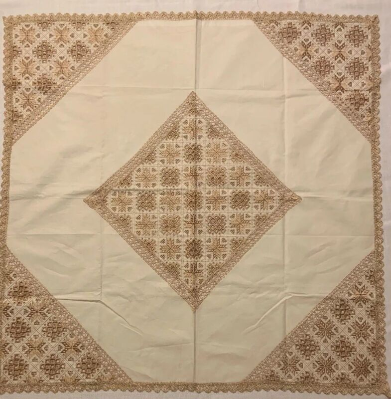 Vintage Norwegian Gold Embroidered Hardanger Lace Tablecloth 34x34