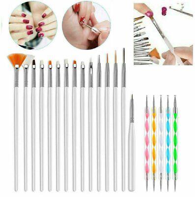 20PCS/Set Nail Art Design Dotting Painting Drawing Polish Brush Pen Tools UV Gel