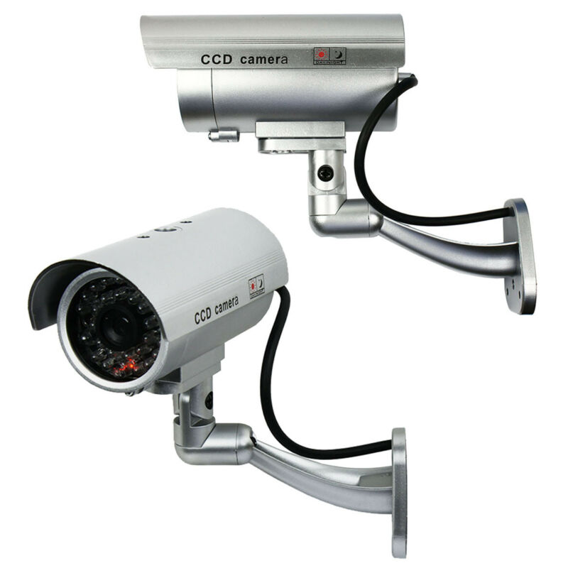 2 Pack IR Bullet Fake Dummy Surveillance Security Camera CCTV & Record Light
