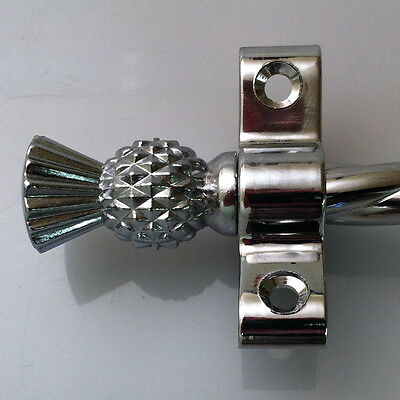 CHROME STAIR RODS ROPE THISTLE FINIAL 28.5