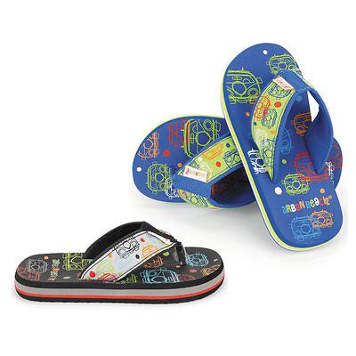 Urban Beach Bubble Bus Van Branded Kids Childrens Flip Flops Beach Shoes Wide VW