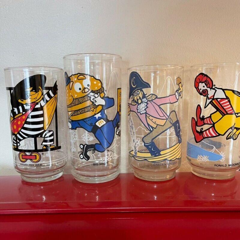 4 McDonalds ACTION SERIES McDonaldland Glasses Vintage 1977 set of 4