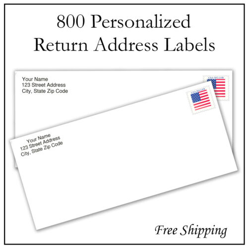 800 Personalized Return Address Labels Printed / Custom 1/2 Inch x 1 3/4 Inch
