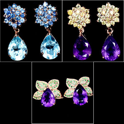 NATURAL SKY BLUE TOPAZ AMETHYST SAPPHIRE & TSAVORITE GARNET EARRINGS 925 SILVER  Blue Sapphire Blue Topaz Earrings
