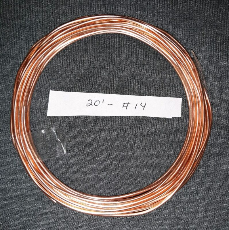 20 FT BARE BRIGHT #14 AWG GUAGE SOLID COPPER WIRE CRAFT ART JEWELRY MATERIAL