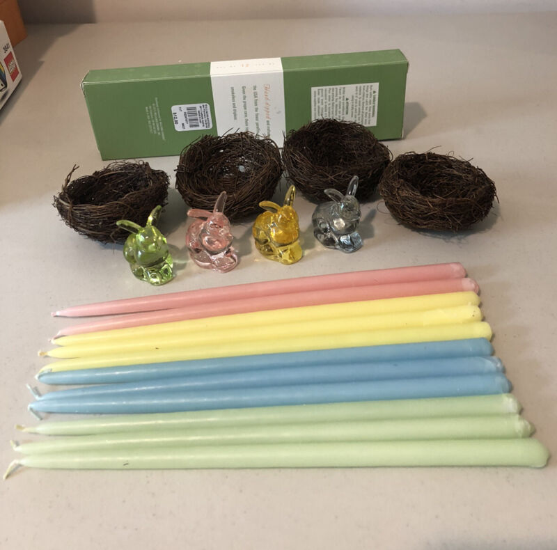 LOT Williams Sonoma Bunny Taper Candle Holders Easter Glass Pastel CANDLES NESTS