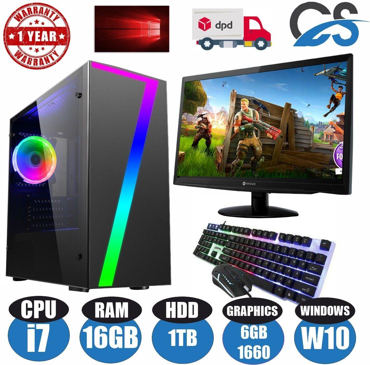 Computer Games - Fast Gaming PC Computer Bundle Intel Quad Core i7 16GB 1TB 6GB GTX1660 Windows10