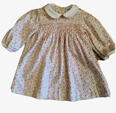 Ralph Lauren polo infant Girls 9M Smocked cotton L.S. rosebud  Floral Dress EXC