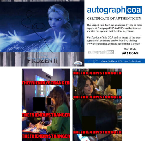 "IDINA MENZEL signed Autographed ""FROZEN 2"" 8X10 PHOTO A - PROOF - Elsa ACOA COA"