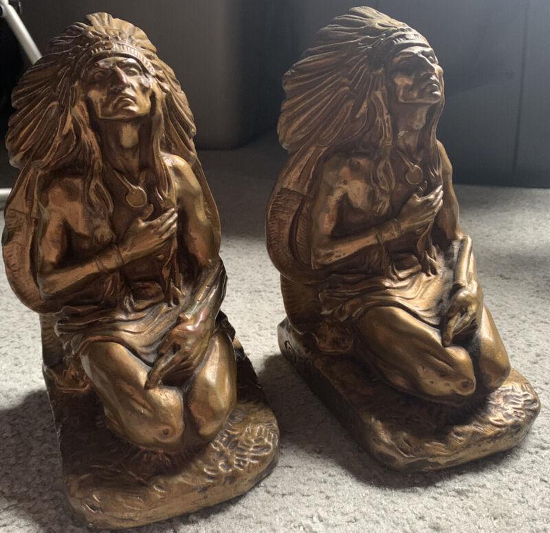Vintage Pair Of Bronze J.L. Lambert Kneeling Indian Chief Bookends
