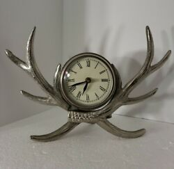 Deer Antler Silver Clock Mantle Table Desk Solid Clock Battery Operated Rare