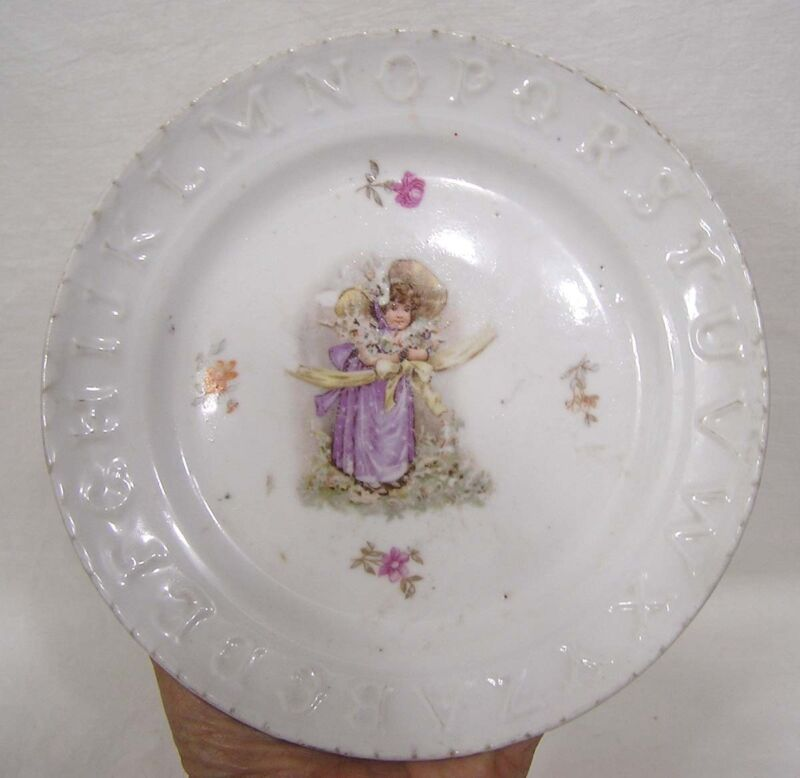 Vintage Childs ABC Plate Young Girl Transfer in Center 1900s