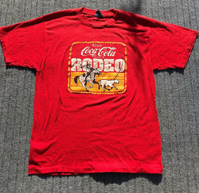 Enjoy coca cola vintage T Shirt sheakers Large 42-44 Rodeo 1970s 80s Red