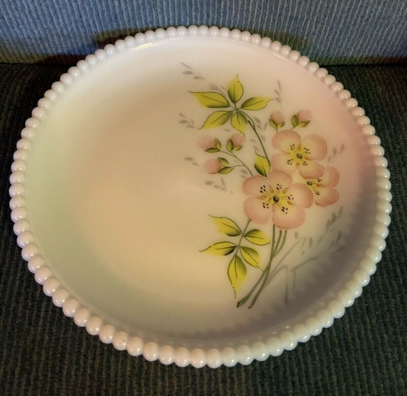 Westmoreland Beaded Edge Salad Plate with Pink Flowers