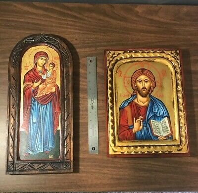 Hand-made Icons - Matching Set of Jesus and Mary