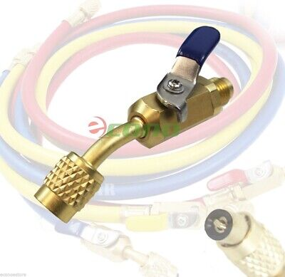 "Brass Shut Valve For AC Charging Hoses HVAC 1/4"" AC Refrigerant R410a R134a"