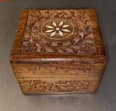 origin unknown Large vintage teak box and lid  with copper and stone inlays