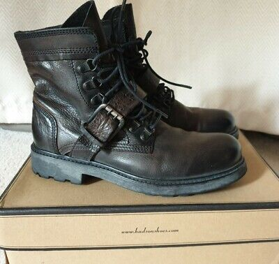 NEW Hudson London Brown Leather Chunky Boots Size 40