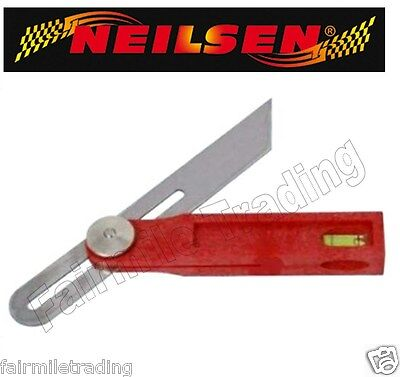 "8"" Adjustable Sliding Bevel c/w Spirit Level Square Angle Finder Wood Work Gauge"