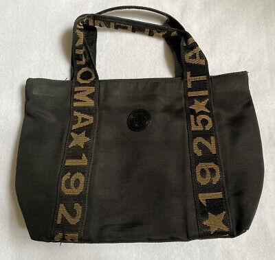 Rare Vintage Fendi S.A.S. Roma Italy 1925 Black Canvas Mini Handbag