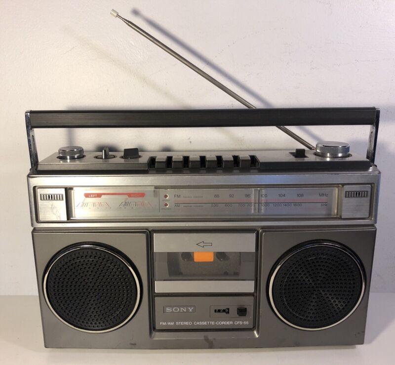 Vintage Sony CFS-55 Boombox Am Fm Cassette Player Radio Works