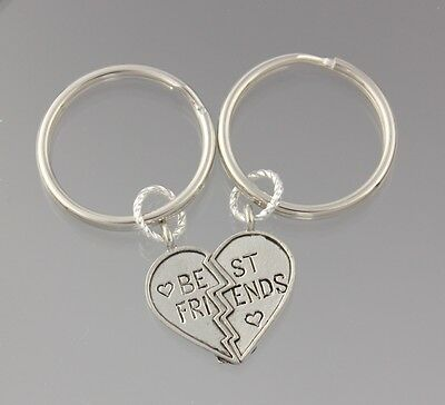 Best Friends Keychains- split heart - two silver key rings - for friendship