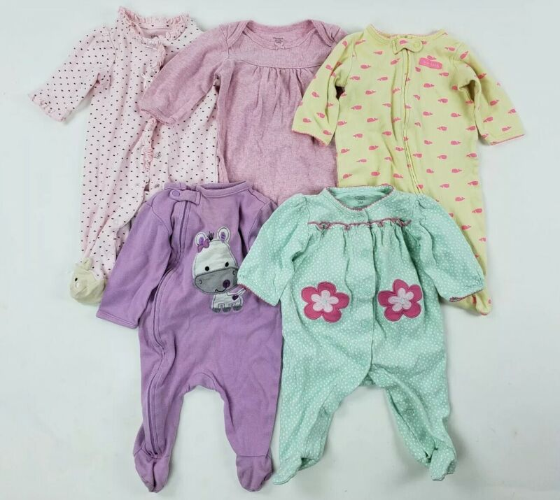 3 Months Girls Sleepers Lot Carters Little Me.. Zipper Baby Clothes Romper Nb