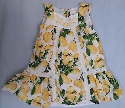 Mädchen Kinder Kleid von strawberry faire Größe 98 100% Baumwolle mit Zitronen
