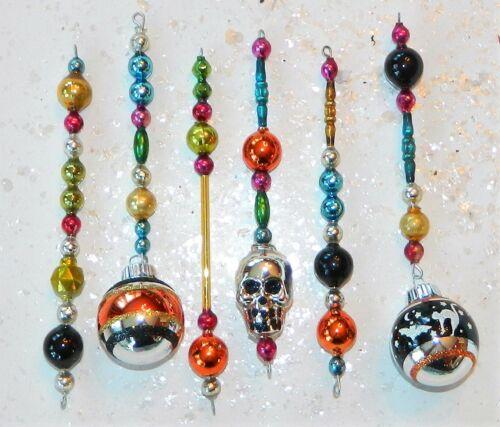 Vintage Mercury Glass Bead Icicle Ornaments Garland HALLOWEEN Radko Beads