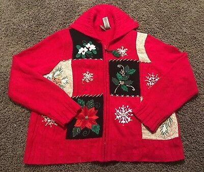 Womens Red Ugly Great Christmas Sweater Vest Snowman Size LARGE