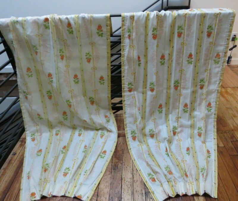 """2 Vintage 1960s Floral Pleated Curtain Drape Panels 82"""" JC Penney euc"""