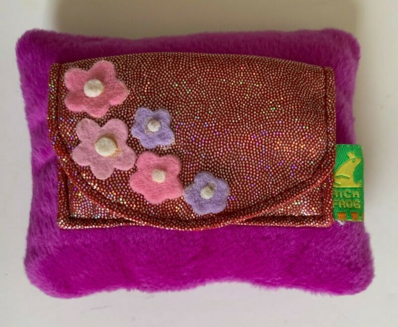 Little Girls Purple Sparkly Tooth Fairy Pillow Flowers Plush