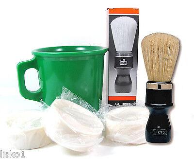 - Marvy Shave Kit - Omega  #4P Mug Brush - Green Shave Mug - 3-Cake Soaps