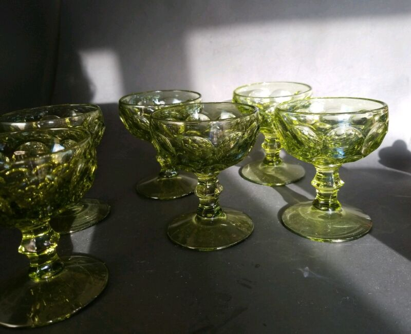 6 VINTAGE IMPERIAL GLASS OHIO PROVINCIAL VERDE GREEN SHERBET / CHAMPAGNE GLASS