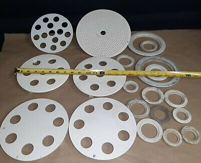 Lot Of Vintage Coors White Porcelain Ceramic Desiccator Plate Funnel Lab Glass