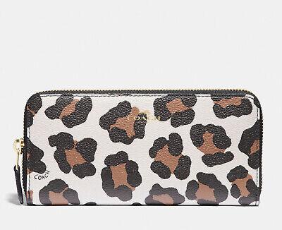 NWT COACH Slim Accordion Zip Wallet W/ Ocelot Leopard Print F59885 Chalk Multi