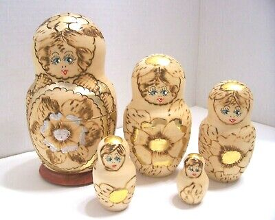 RUSSIAN NESTING DOLLS~5~ Wood With Flower design~ wood burning & Gold Paint