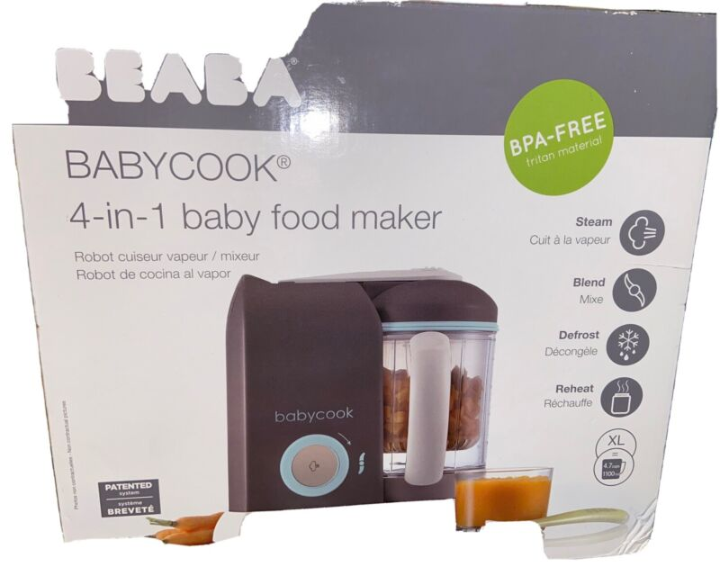 New Sealed  Beaba Babycook Pro Baby Food Maker and Steamer - Latte/Mint