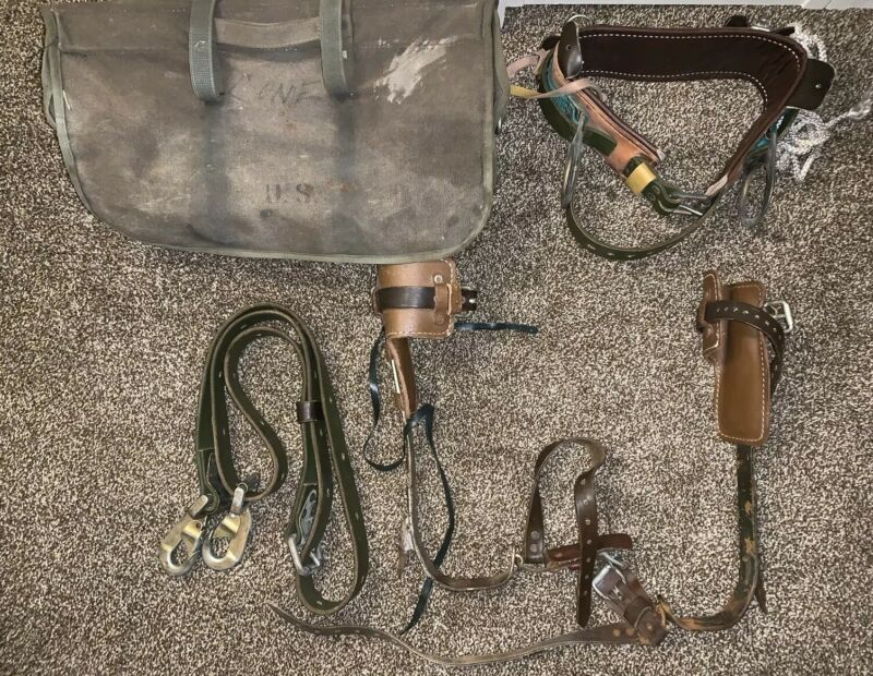Vintage U.S Military Buckingham Pole Climbing Gaffs Spikes Belt Harness Case