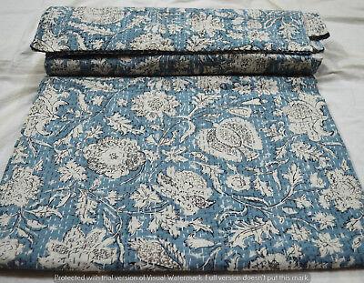 Quilt Kantha Königin Bettdecke Hand Block Print Tagesdecke Baumwolle indische ()