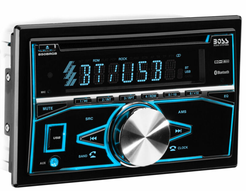 Boss 850BRGB Double 2 DIN Bluetooth In-Dash CD USB Player Car Stereo Receiver