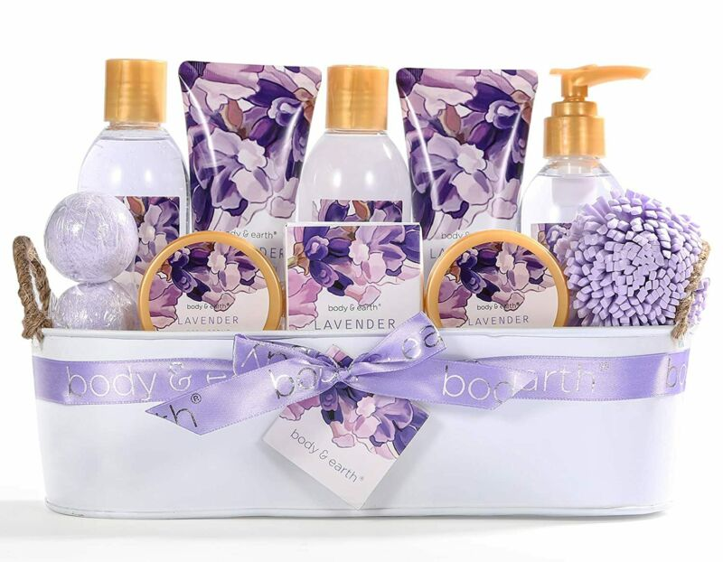 Bath Spa Gift Basket for Women,12pcs Lavender Scented Body & Earth Bath Gift Set