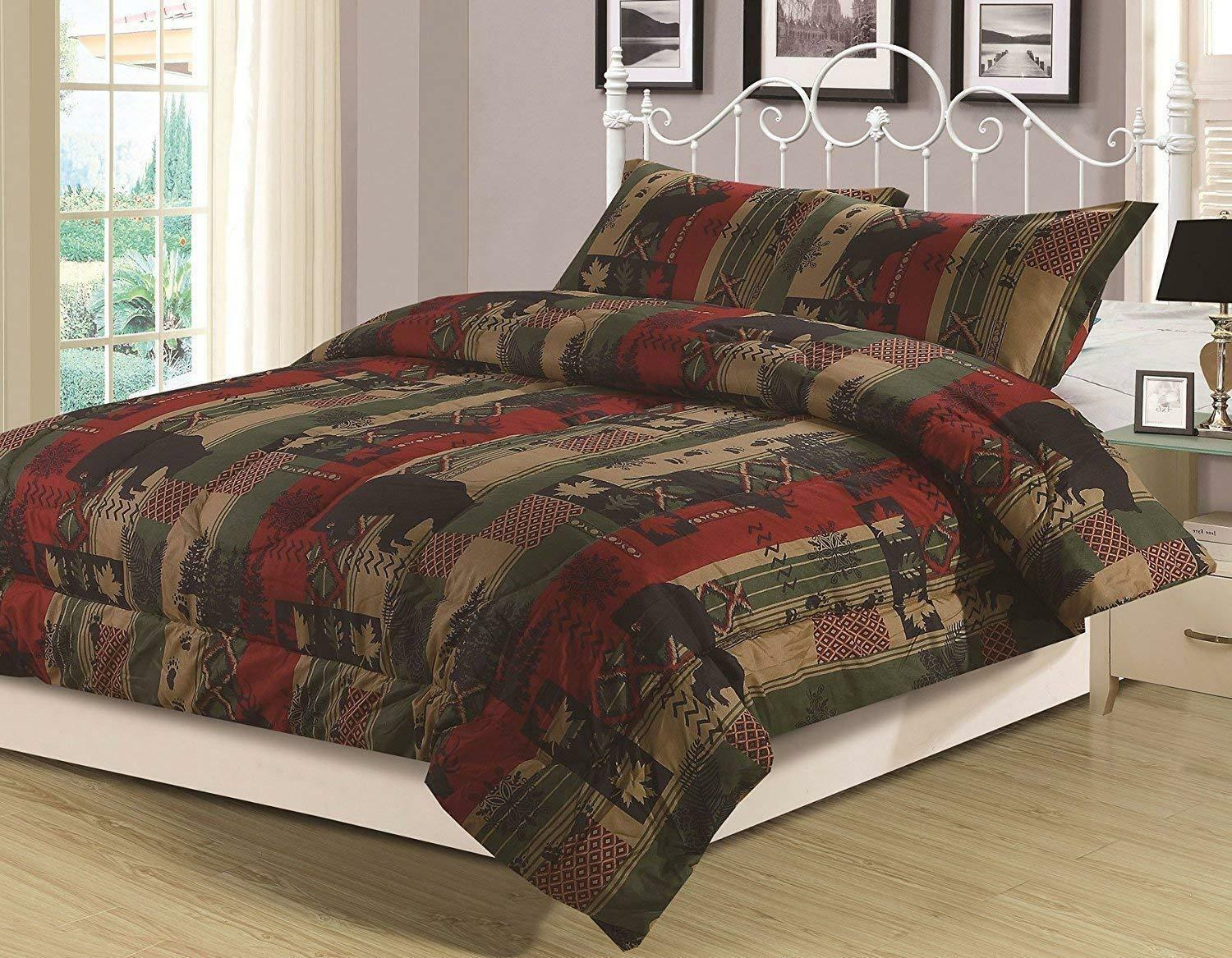 King, Queen or Twin Rustic Southwest Comforter Bedding Set Bear Nature Cabin Bedding