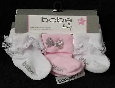 6 PAIRS BEBE CO. BABY GIRLS INFANT FASHION LACE TRIM & SILVER BOW SOCKS. 6-12 M