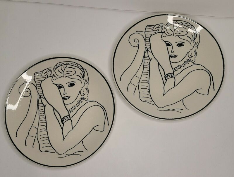 Lot of 2 Handcrafted Francesca French Lady Female 8 inch Plate 6153