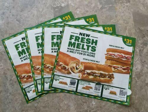 FOUR Sheets Subway Sandwich Coupons, 124 Value, Exp. 6-11-21 - $5.49