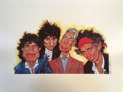 "Rolling Stones Kruger Caricature Art Print - Full Band - 20""x15.25"""